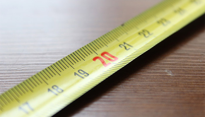 Closeup of a tape measure.
